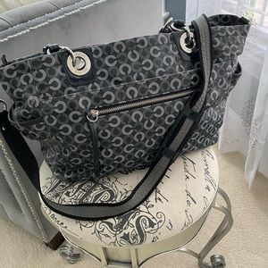 Authentic black and white leather Coach baby bag